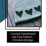 picture of grey and green boys heart hat crochet pattern