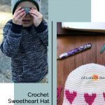 picture of crochet sweetheart hats in white and grey