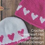 picture of pink and white crochet heart hat pattern free