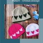 picture of pin image with heart hat crochet pattern and text