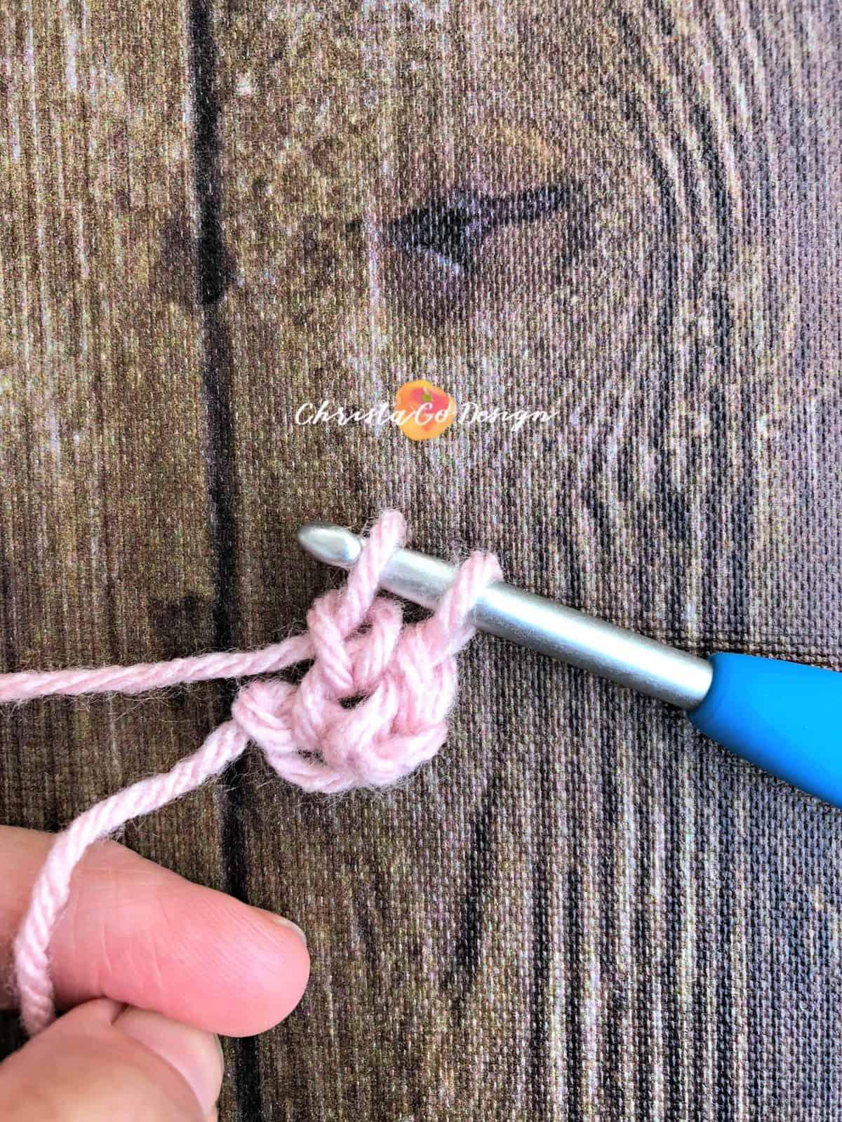Begin second foundation single crochet.