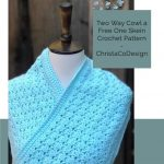 picture of blue shell stitch crochet cowl pin image with text