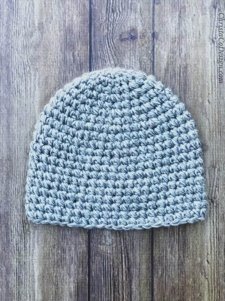 picture of grey pebbled beanie crochet hat flat