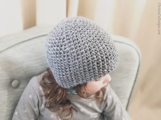 picture of textured grey crochet beanie modeled