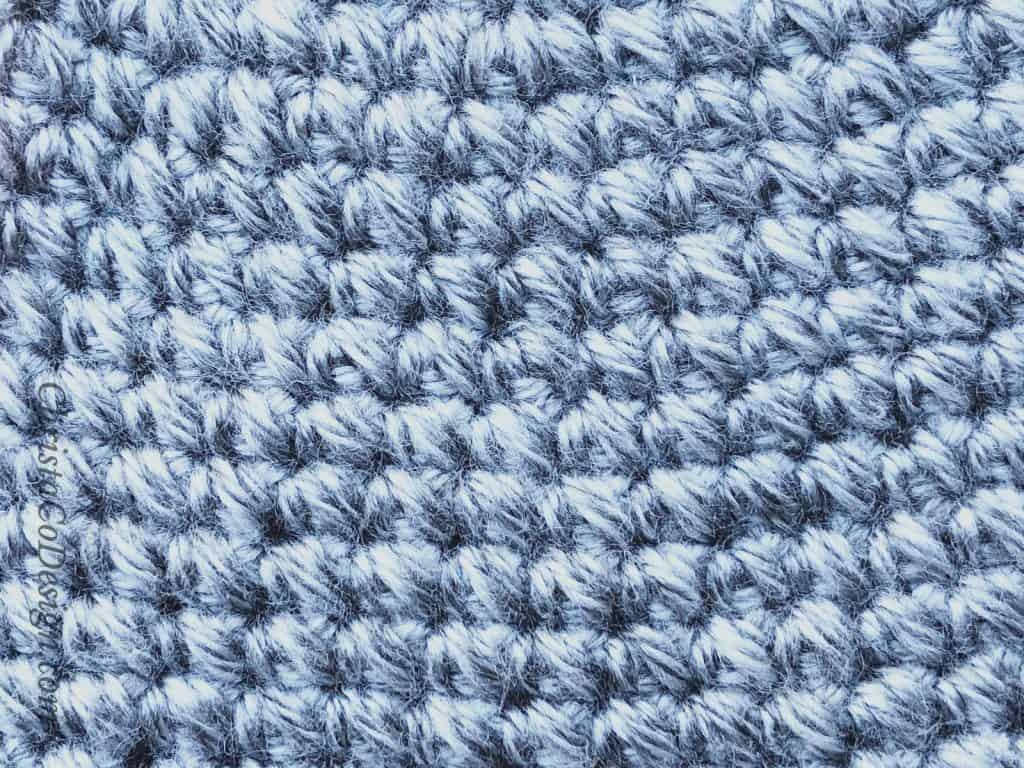 picture of close up texture of crochet hat with pebbled texture