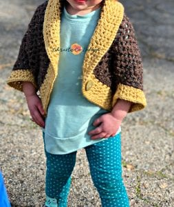 picture of open front crochet toddler cocoon shrug