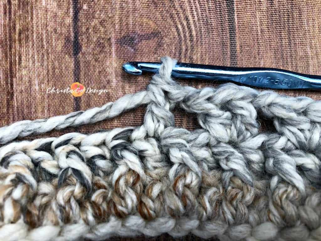 picture of yarn and hook for v-stitch crochet tutorial