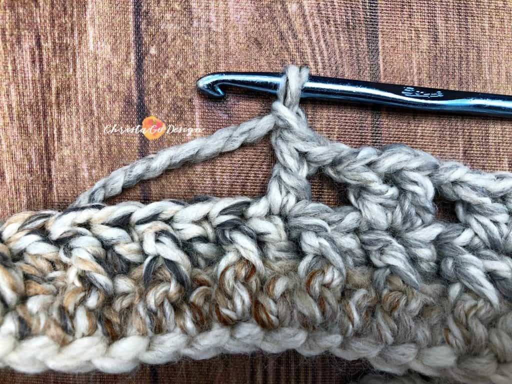 picture of double crochet on hook