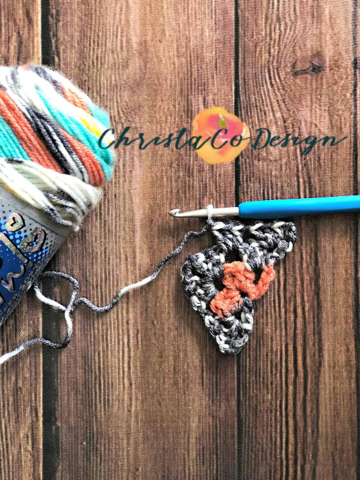 3 double crochet in chain 1 space.