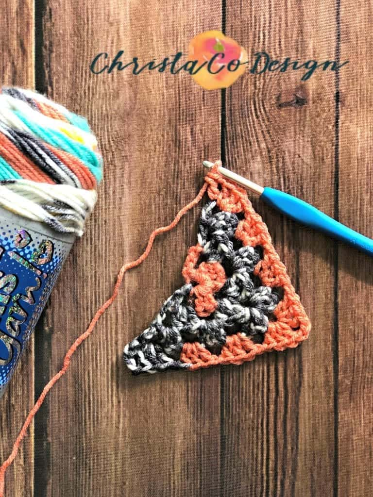 picture through row 4 of triangle scarf crochet tutorial