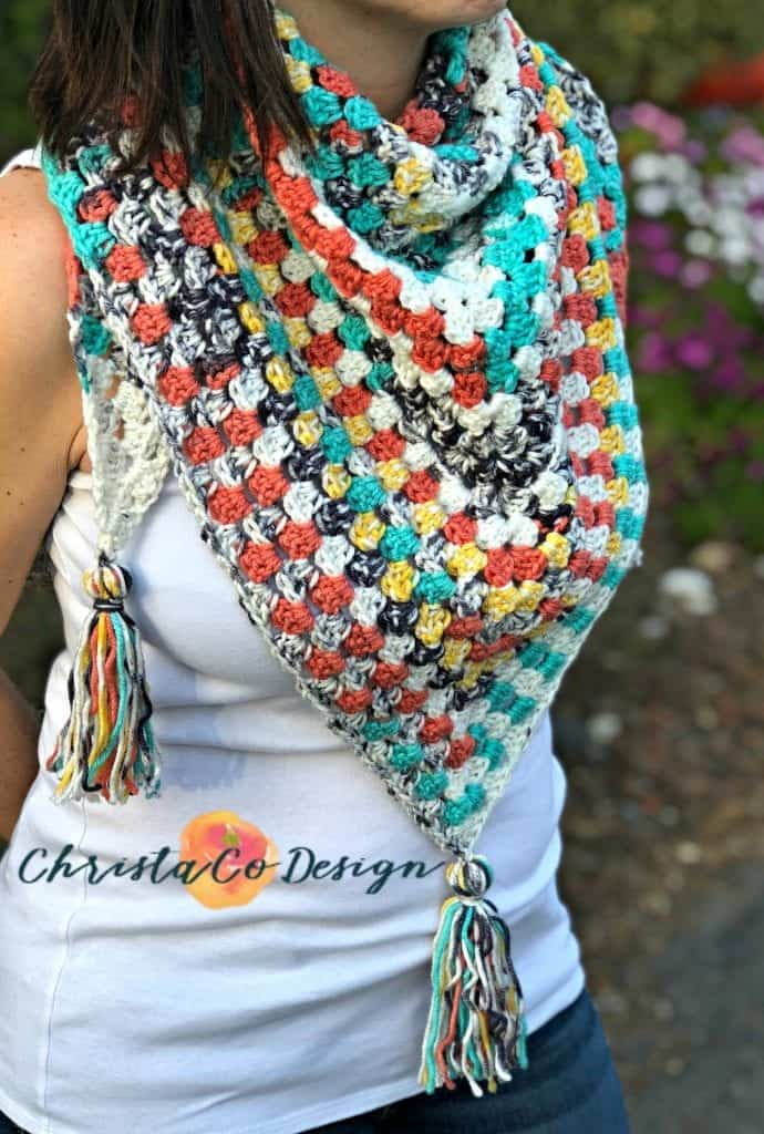 picture of woman wearing crochet triangle scarf