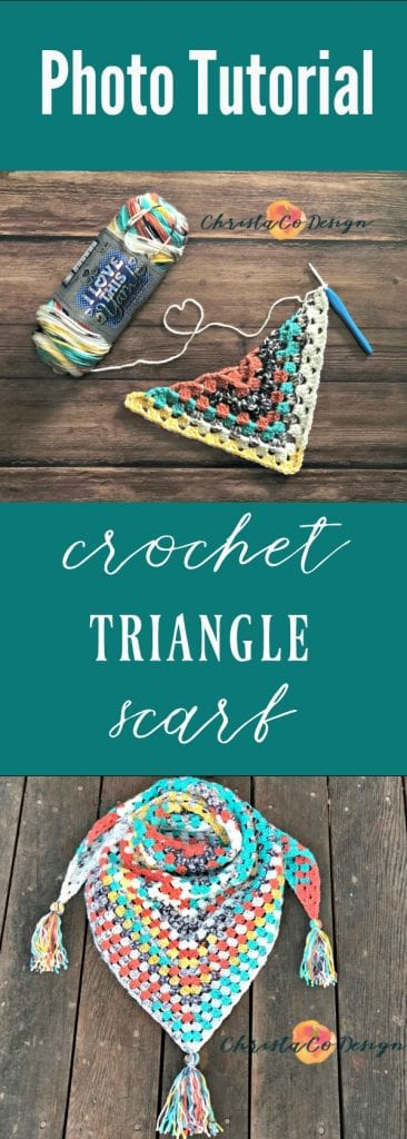picture of pin image for crochet triangle scarf pattern free with photo tutorial