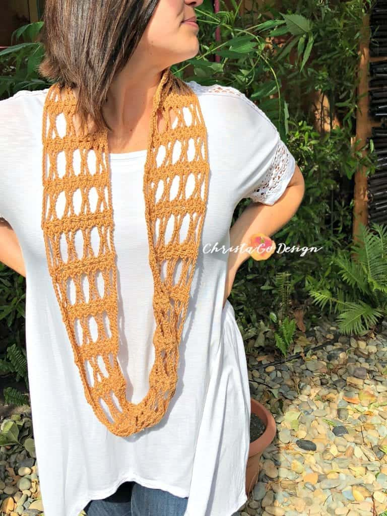 picture of long lacy crochet cowl one skein