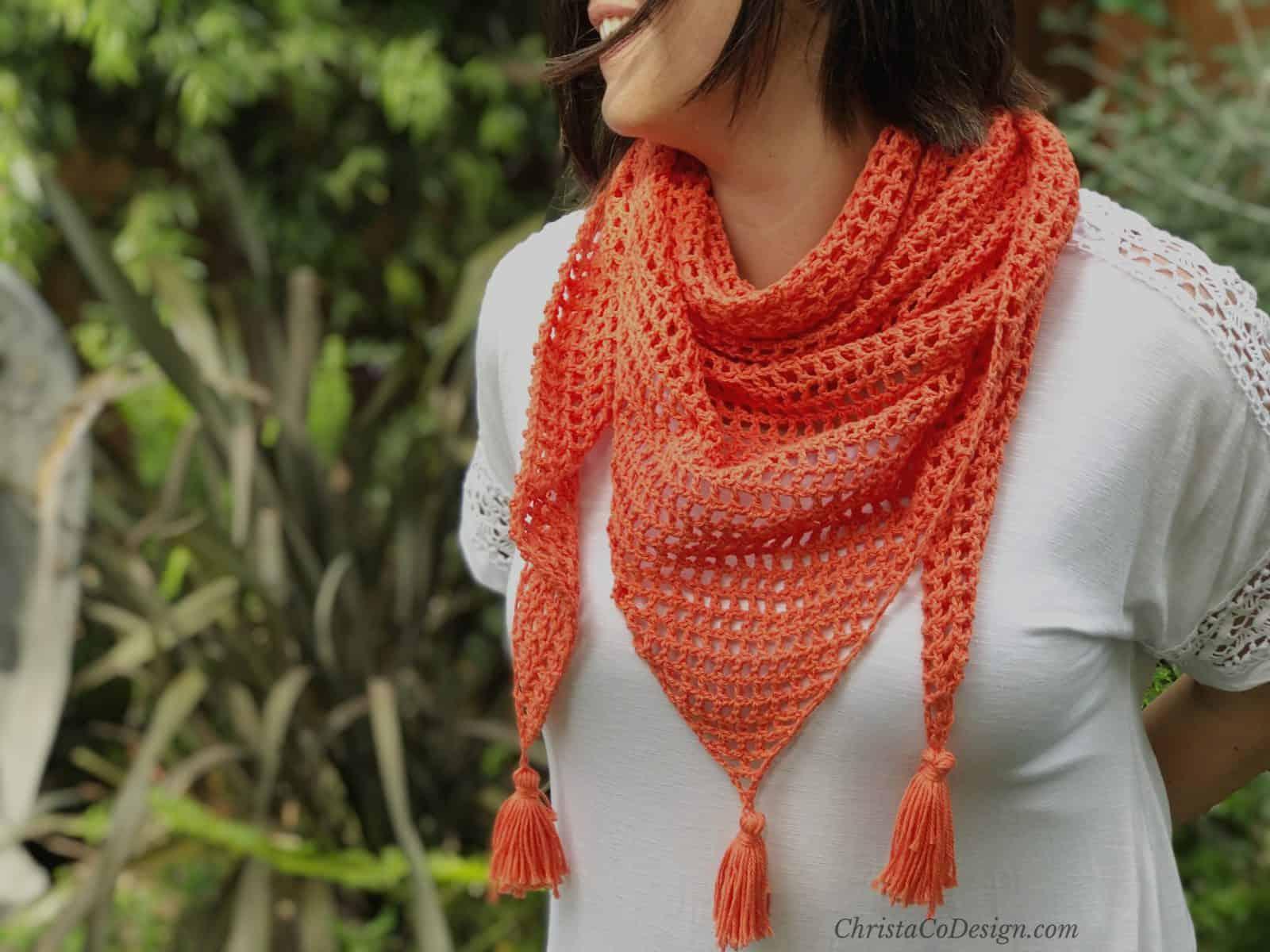 Easy Crochet Mesh Triangle Shawl Pattern