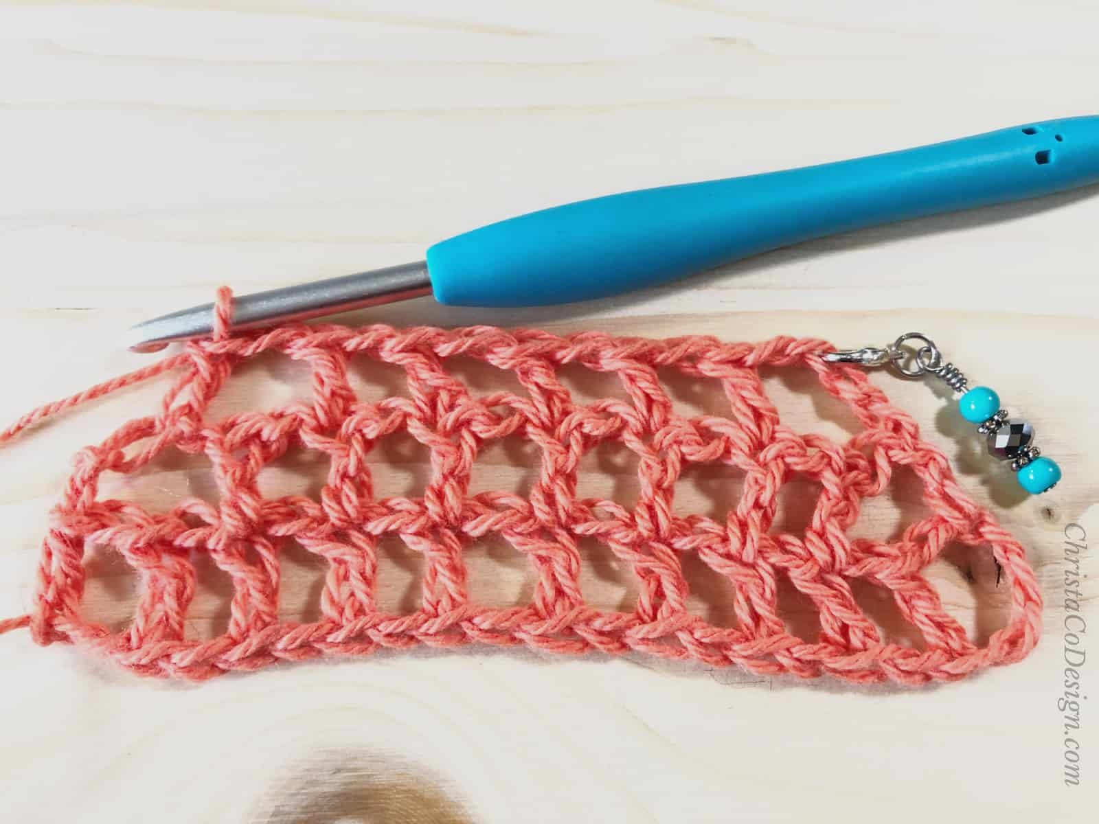 picture of coral mesh triangle shawl decrease