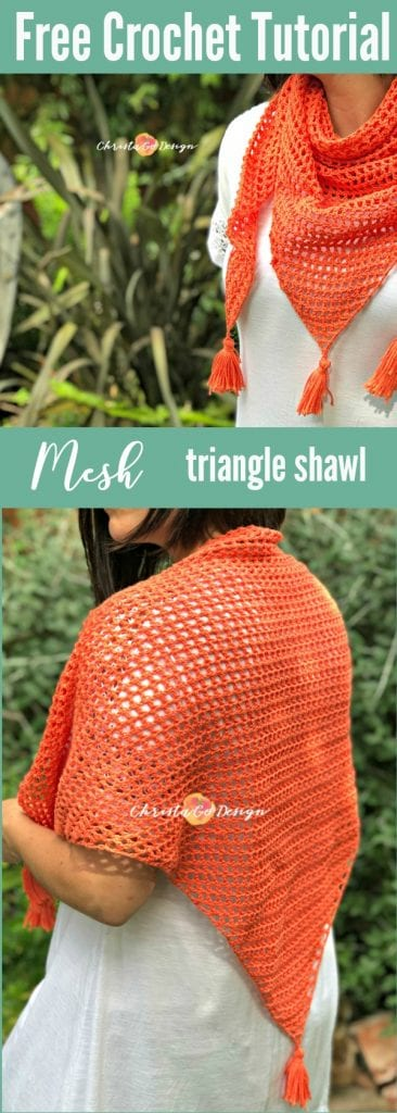 mesh crochet triangle shawl tutorial
