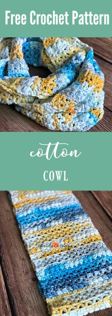 picture of yellow and blue crochet cotton cowl pattern