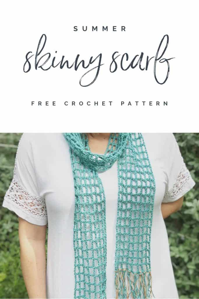 PIN with text and image of woman wearing teal crochet scarf.
