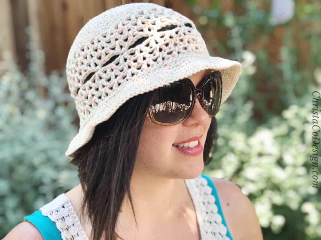 Adult size crochet sun hat in cream.