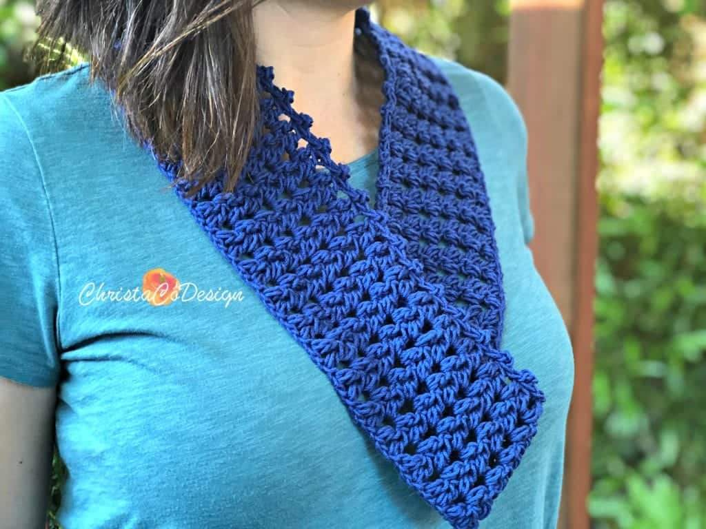 Woman in crochet cotton cowl.