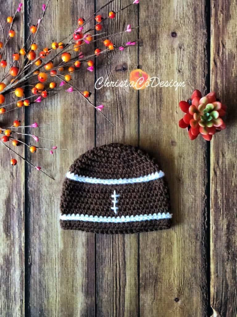 picture of crochet football hat flat