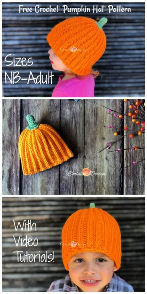 picture of pin image of crochet pumpkin hat nb-adult free pattern