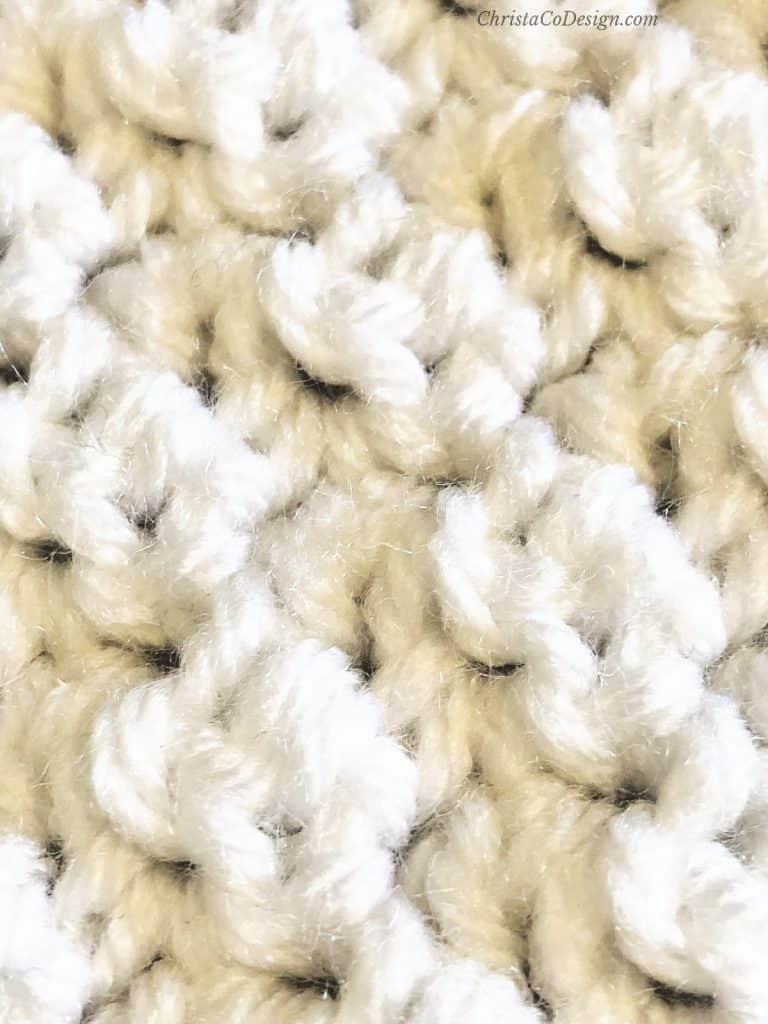 Lemon peel stitch crochet texture up close blanket pattern.