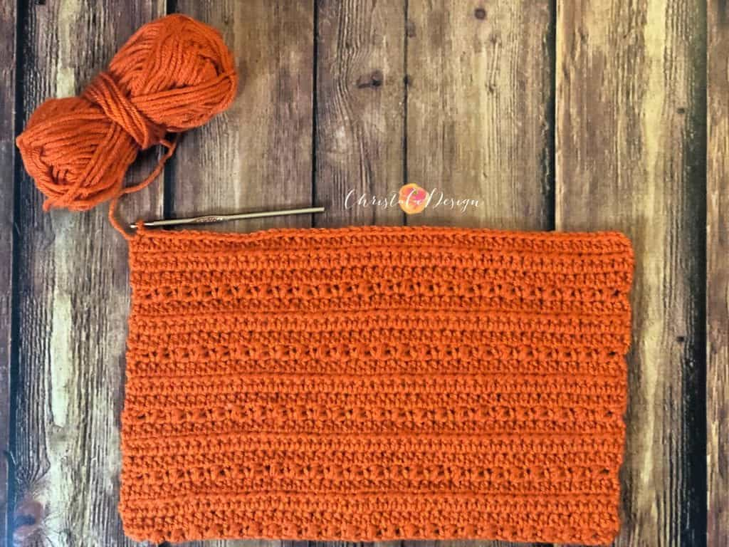 picture of crochet pixie hat stitches in rectangle