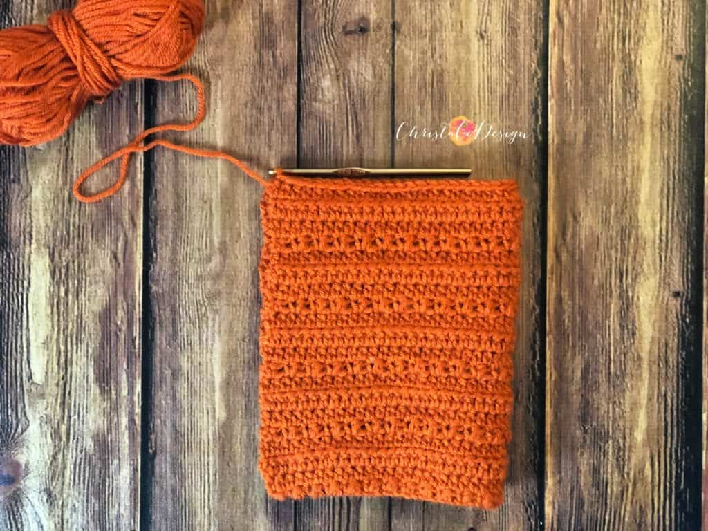 picture of how to fold crochet rectangle for pixie hat