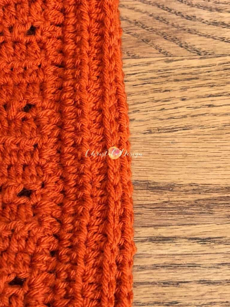 picture of extended half double crochet edging