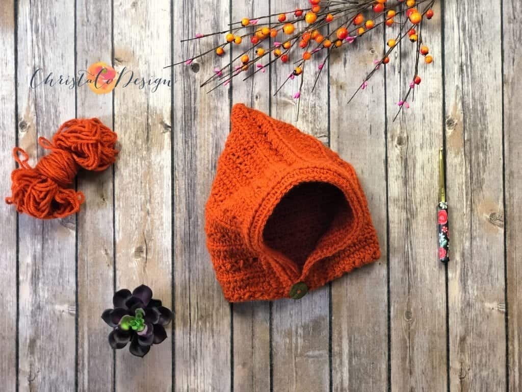 picture of crochet pixie hat in rust color