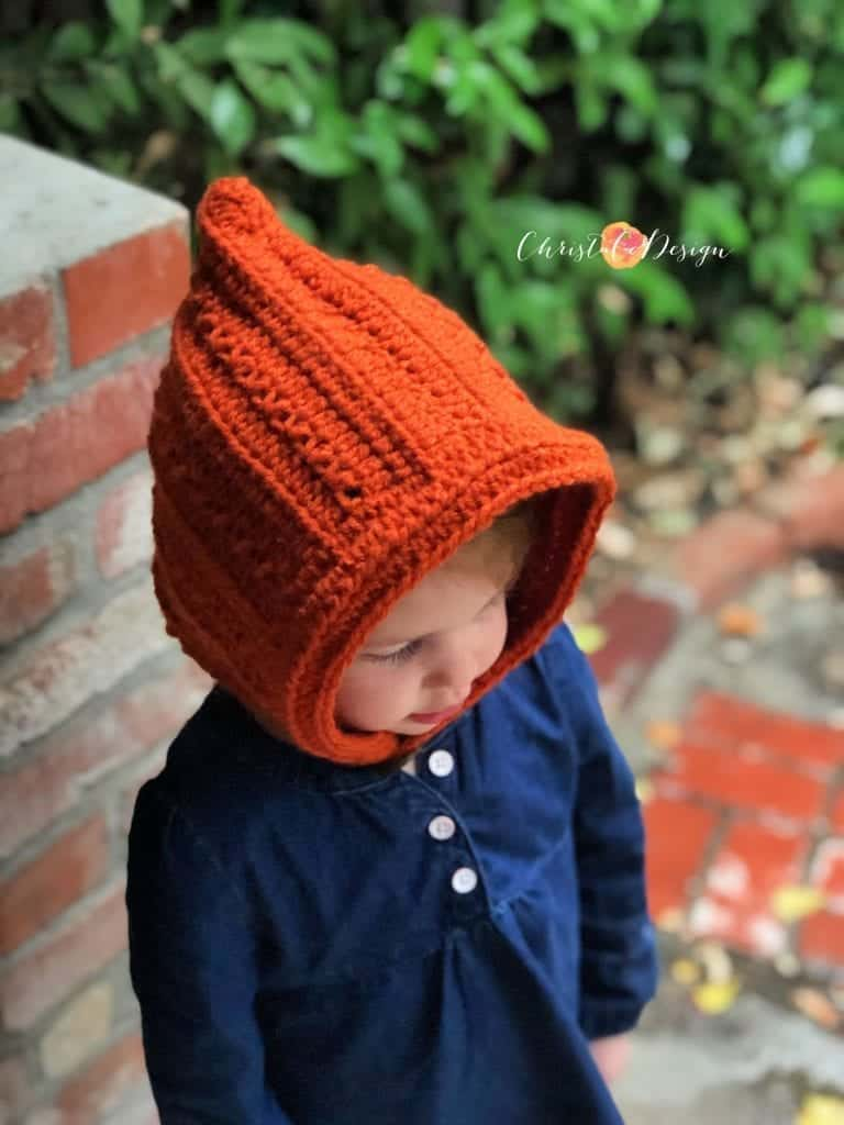 picture of crochet pixie hat with textured stitches