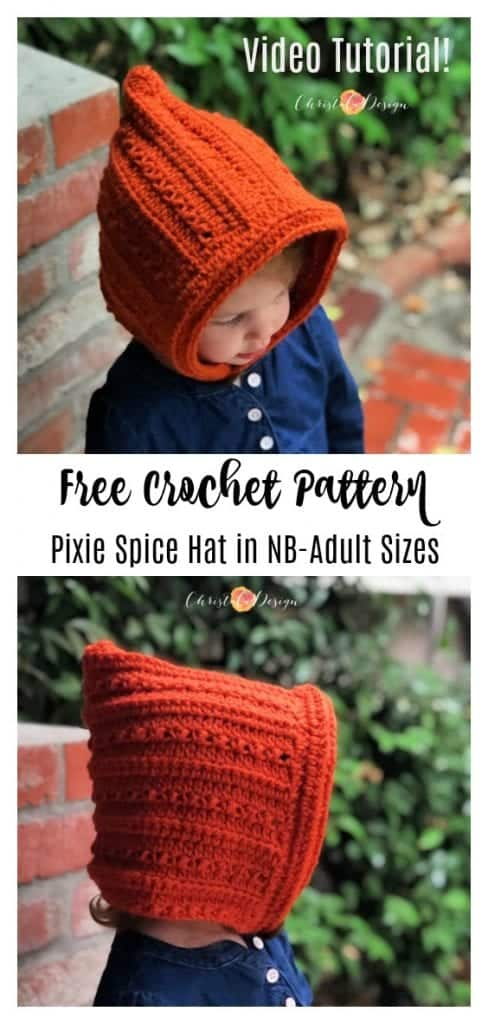 picture of pin image with text free crochet pixie hat pattern