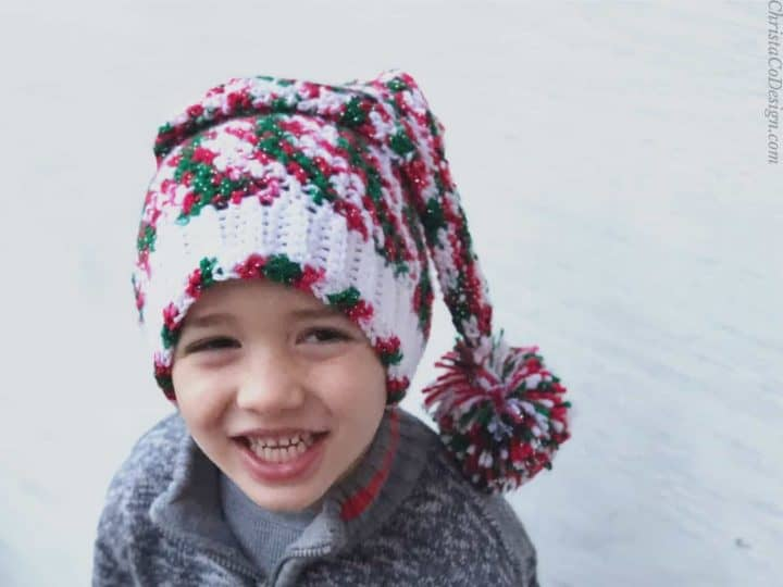 picture of Christmas crochet hat curly elf