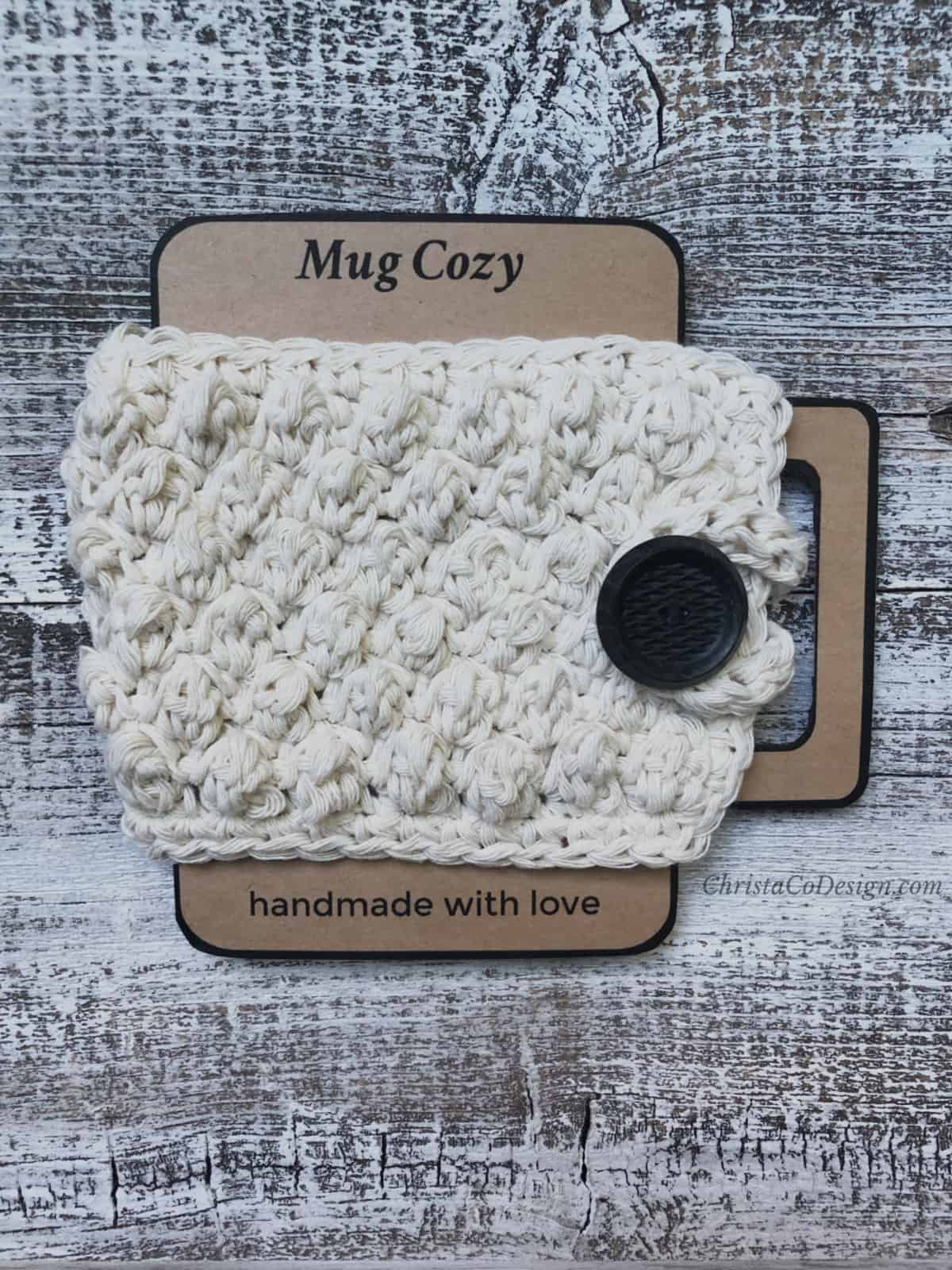 picture of crochet mug cozy on cardboard printable