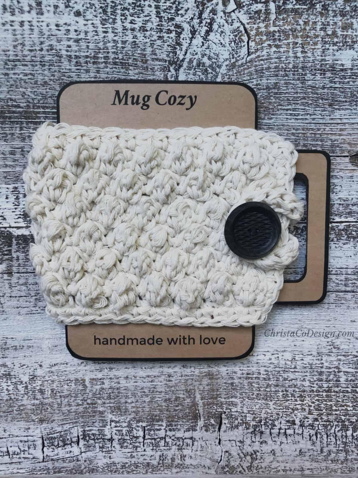 picture of crochet mug cozy on cardboard printable