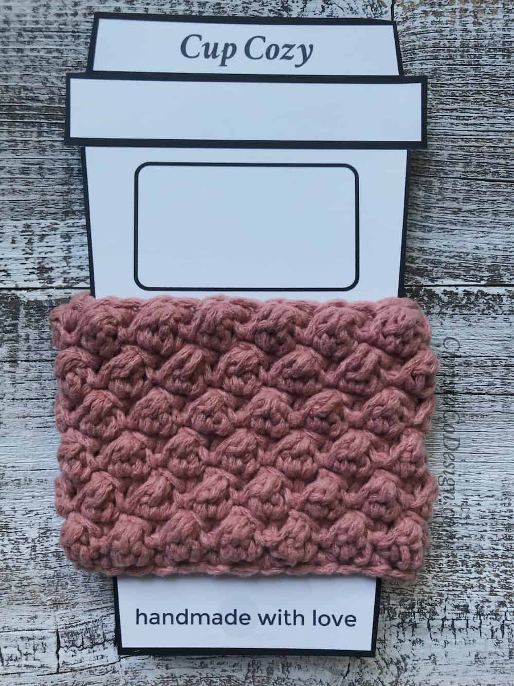picture of to go cup cozy pink crochet sleeve