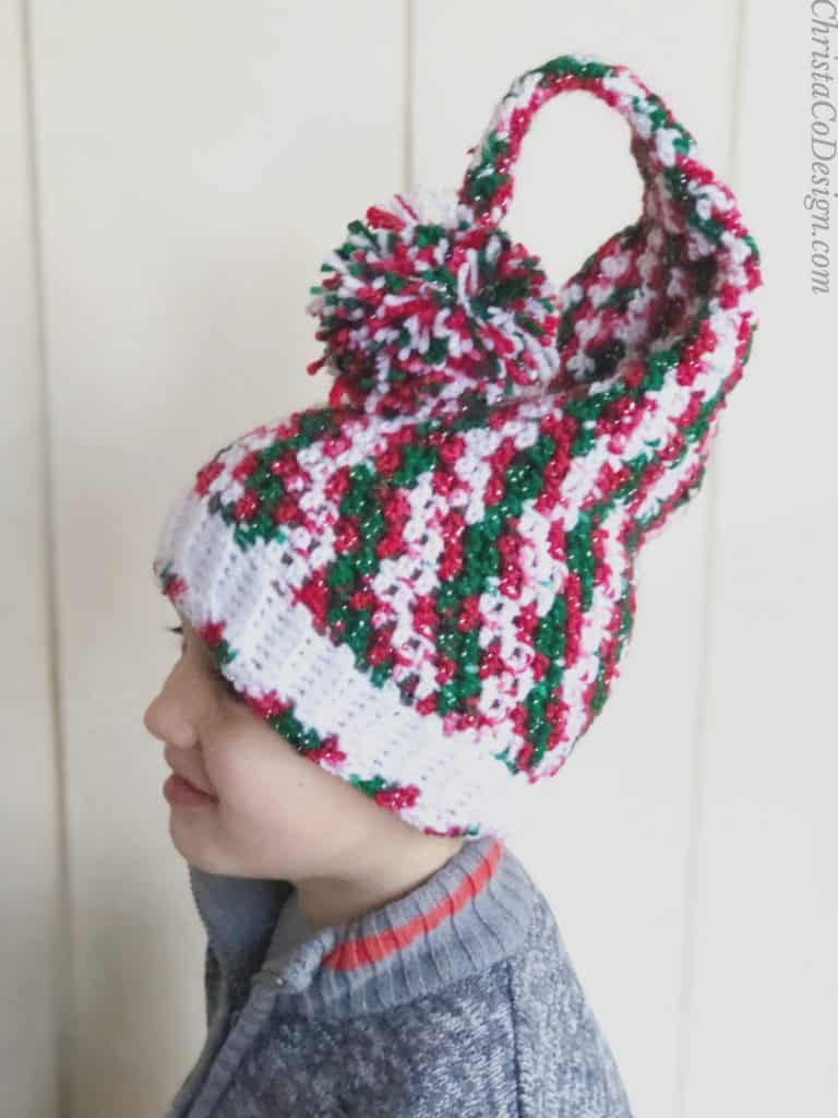 picture of side view crochet curly elf hat christmas free pattern