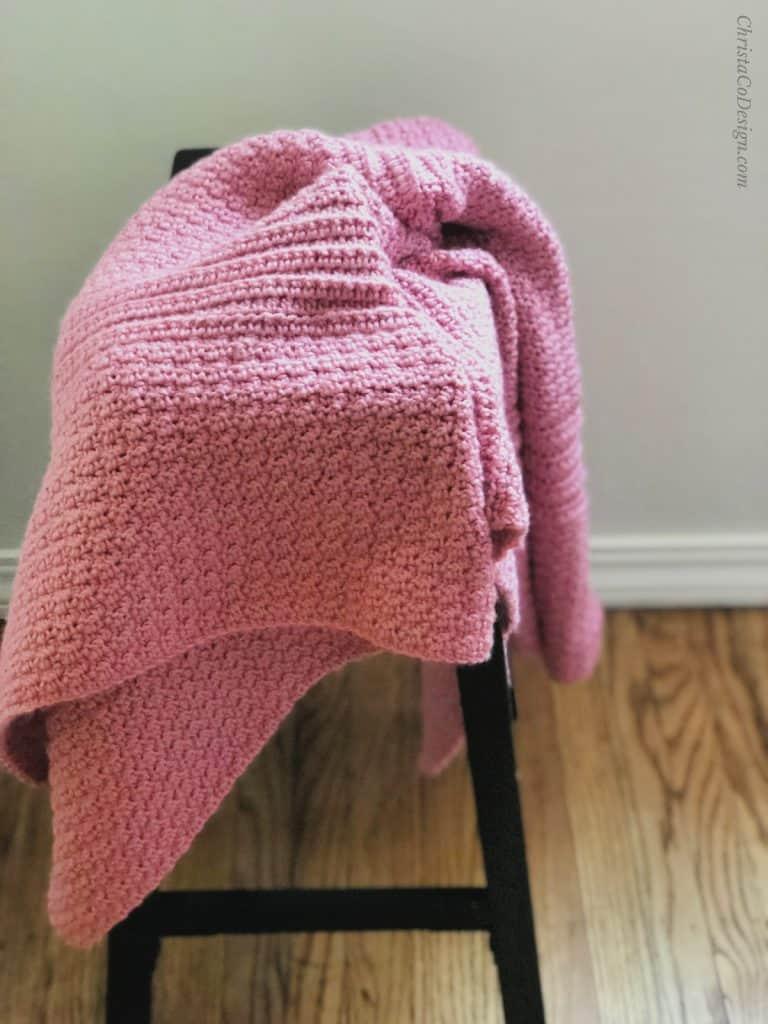 picture of crochet blanket pink