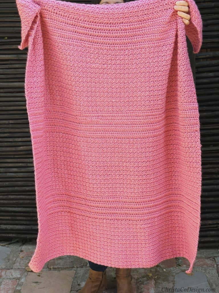 picture of pink textured crochet blanket pattern