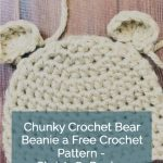 picture of pin image chunky bear beanie with text free crochet pattern