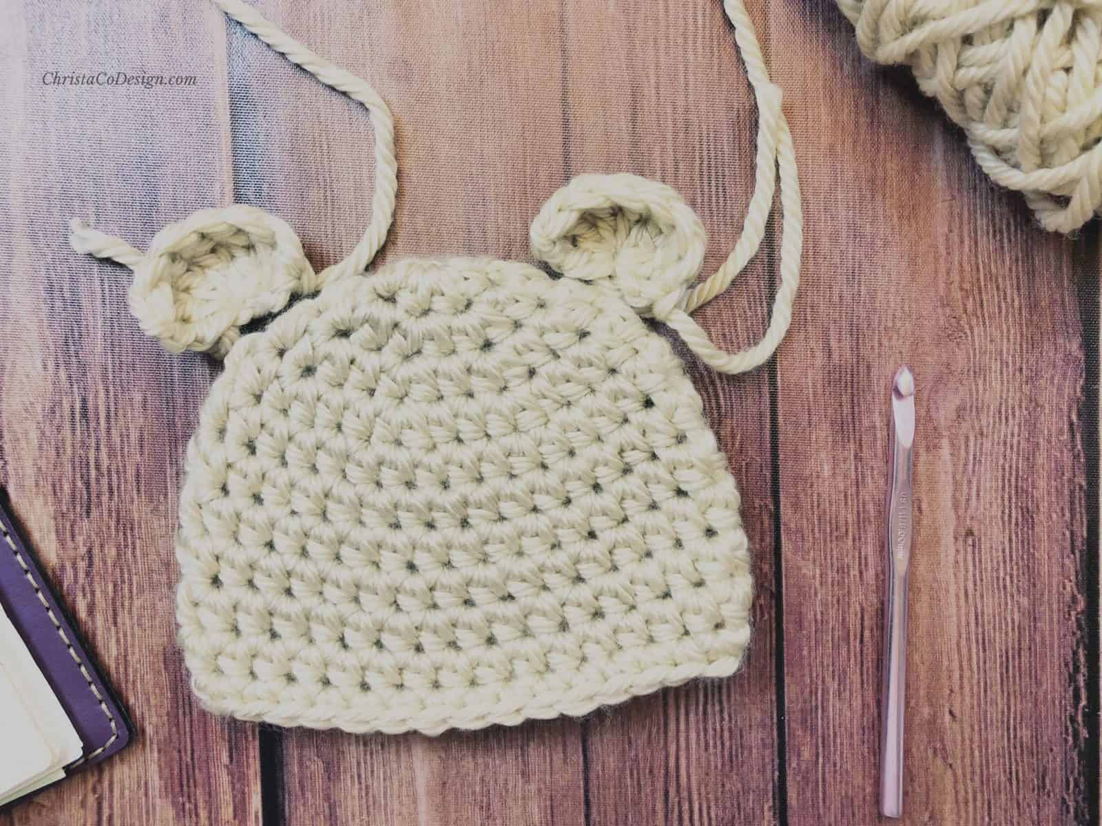 Bear hat with ears placed flat.