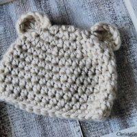 Bear ears on crochet hat.