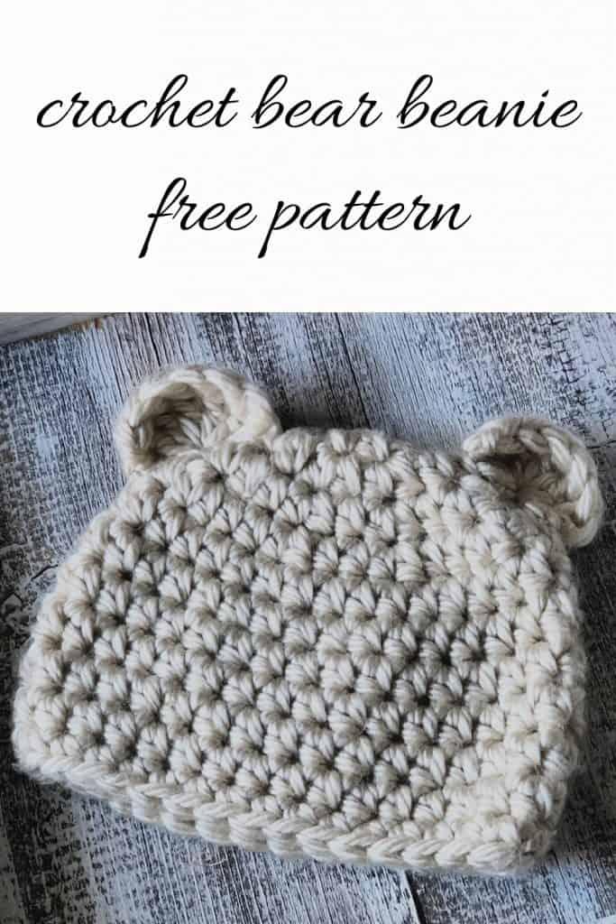 Crochet hat with bear ears.