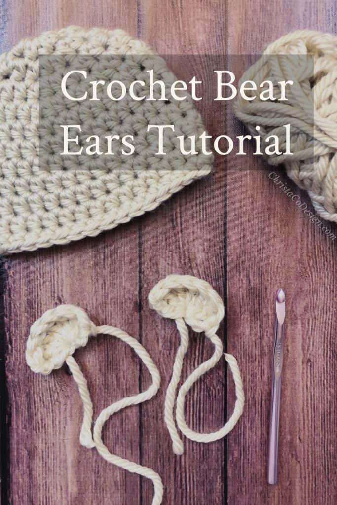 Crochet bear ears to put on hat.