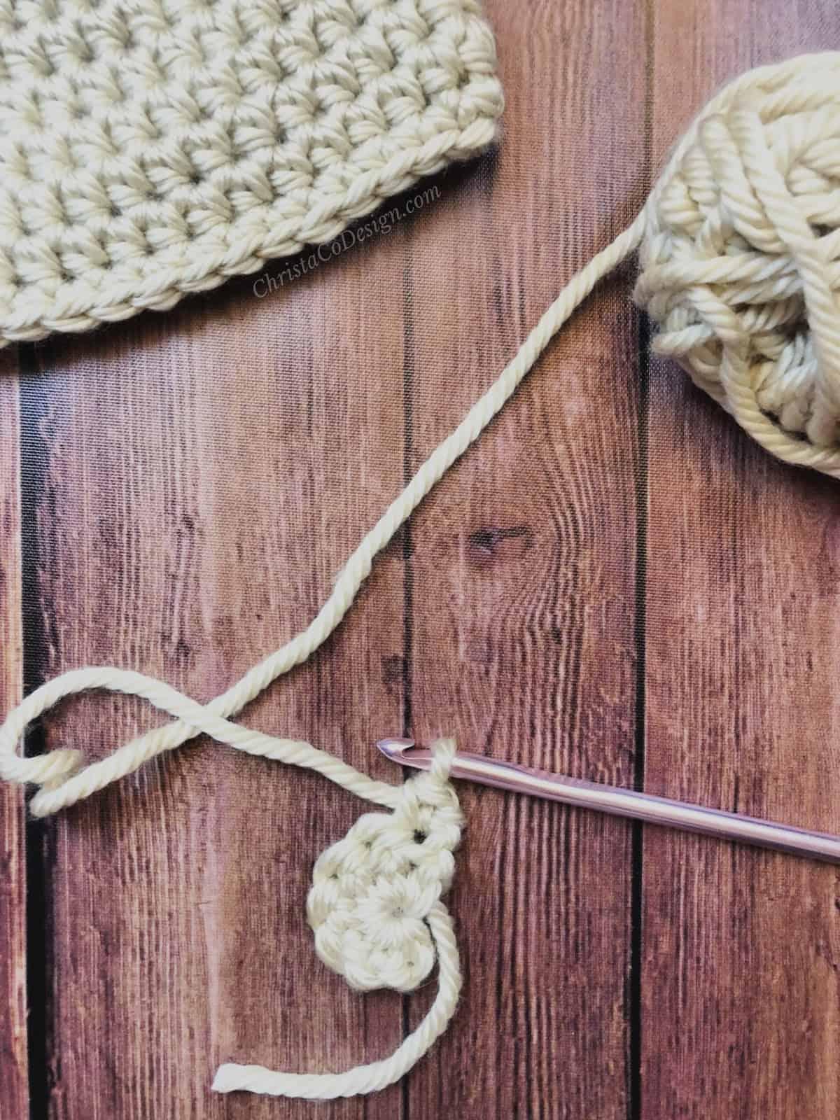 Crochet bear ear turned.