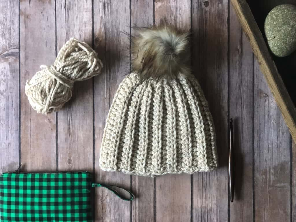 picture of ribbed crochet beanie flat