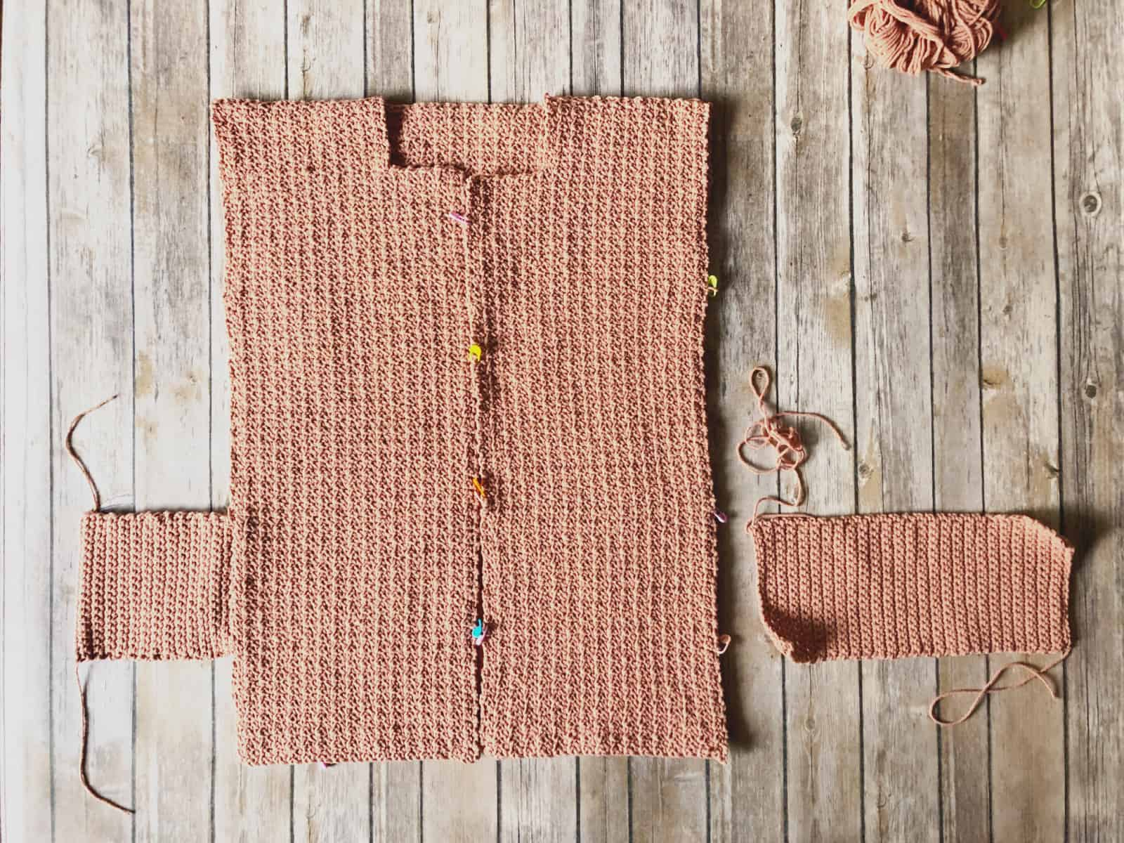picture of crochet cardigan pockets placement