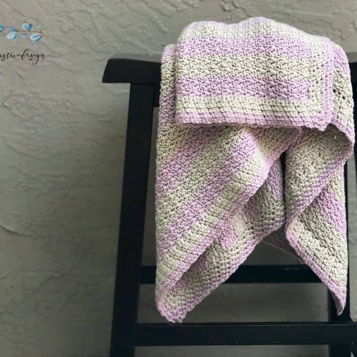 picture of striped crochet cotton baby blanket