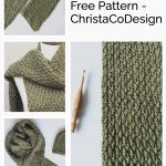 Pin image with green textured crochet scarf.